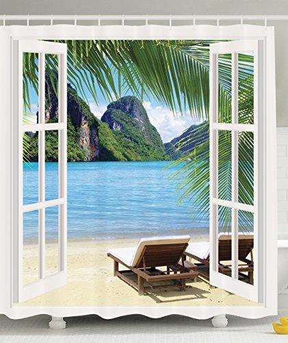 Palm Tree Decor Ocean Beach Seascape Going Away Gifts Sunbeds Balcony  Wooden Windows Summer Scene Tropical Island Fabric Shower Curtain, Blue  Green White ...
