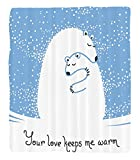 Chaoran 1 Fleece Blanket on Amazon Super Silky Soft All Season Super Plush Animal Decor etMother Polar Bear Hugging Her Baby In Thenow North Winter Love Keeps Warm Artful Theme Accessories ()