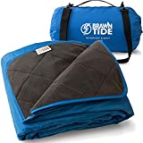 Brawntide Large Outdoor Waterproof Blanket - Quilted with Extra Thick Fleece, Warm, Windproof, Ideal Stadium Blanket, Great for Camping, Festivals, Picnics, Beaches, Dogs (Royal Blue)