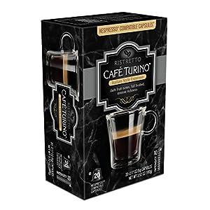 Cafe Turino Italian Style Espresso, (Ristretto, 20 Count) Nespresso Compatible Capsules