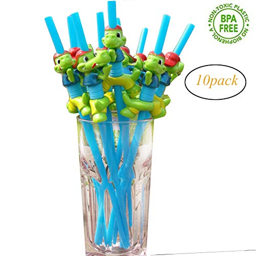 (Hangyuan Animal Drinking Straws Bpa Free Reusable for Kids Birthday Party Woodland Animal Decorations with Cleaning Brush(10PCS))