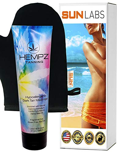 (Hempz Hypoallergenic Dark Tan Maximizer - 9 oz + Mitt)
