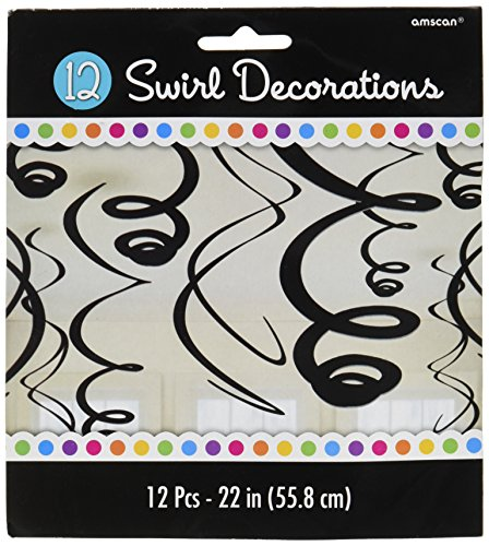 Amscan 67055.10 Swirl (12ct) Party Decorations 22 inches Jet Black ()