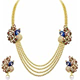 Efulgenz Indian Bollywood Traditional White Red Green Rhinestone Faux Ruby Emerald Bridal Designer Kundan Multistranded Lariat Style Necklace & Earrings Jewelry Set in Antique 18K Gold Tone for Women