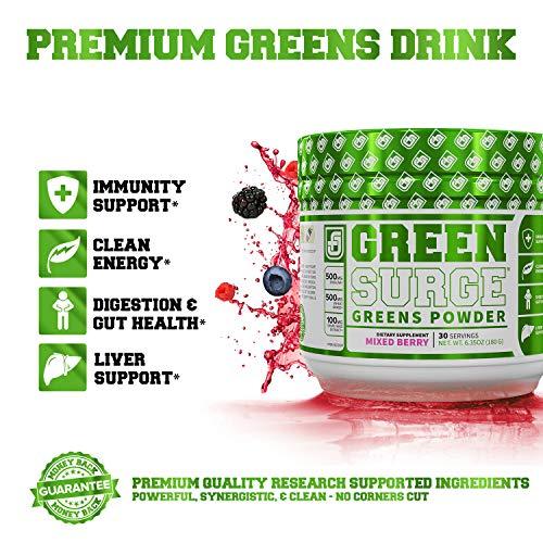 Green Surge Green Superfood Powder Supplement - Keto Friendly Greens Drink w/Spirulina, Wheat & Barley Grass, Organic Greens - Green Tea Extract, Probiotics & Digestive Enzymes - Mixed Berry - 30sv