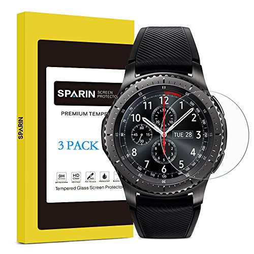Gear S3 Screen Protector, SPARIN [3 Pack] [Tempered Glass] [Bubble Free] [Full Coverage] Screen Protector for Samsung Gear S3 Frontier / Classic Smart Watch, 1.3 Inch by SPARIN
