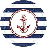 Amscan Anchors Aweigh Party Plates, 10.5