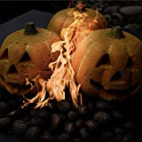 Ceramic Carved Pumpkin | Fireproof Ceramic Decoration for Fire Pits and Fireplaces | Faux Halloween Decor, Single Pumpkin