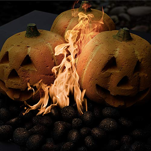(Ceramic Carved Pumpkin | Fireproof Ceramic Decoration for Fire Pits and Fireplaces | Faux Halloween Decor, Single)