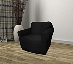 Black Jersey Loveseat Stretch Slipcover, Sofa, Chair, Recliner, Couch Cover Love Seat Cover, Kashi Home (Chair)