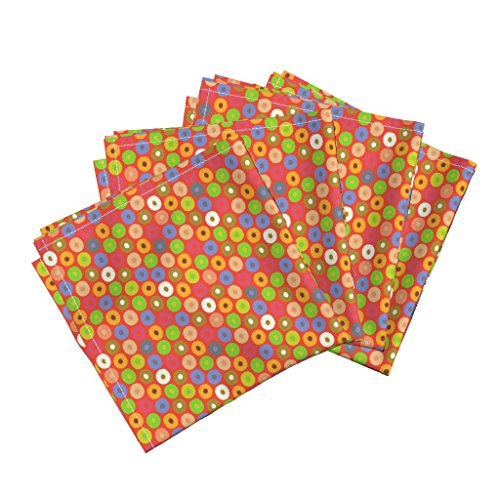Roostery Monkey Linen Cotton Dinner Napkins Felt Monkey Polka by Scrummy Set of 4 Cotton Dinner Napkins made by (Napkin Banana Table Folding)