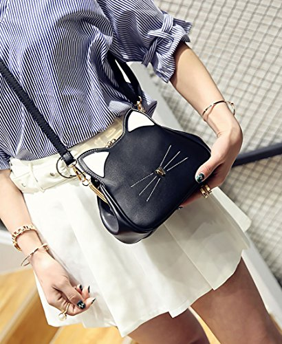 3 Women's Ear Bag Cat Leather Handbag Girls' Cute Pu Bags Crossbody Kitty Purse Shoulder XMLiZhiGu Black 61WBvPcnn