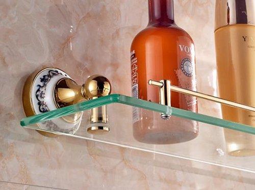 TACCY Luxury Single Bathroom Glass Shelf with Two Gold Finish Brackets Brass Made Toughened Safety Mounted Glass Shelf #MK01A