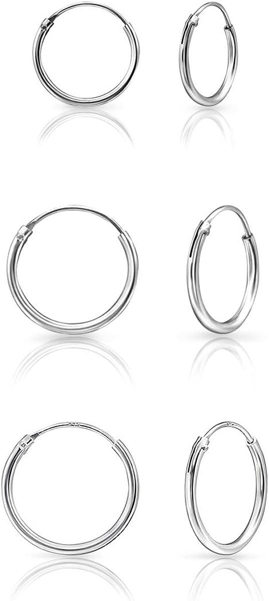 DTP Silver - Conjunto de 3 pares de Pendientes de Aro - Plata 925, Plateada en Oro Amarillo o Rosa - Espesor 1.2 mm, Diámetro 12, 14, 16 mm
