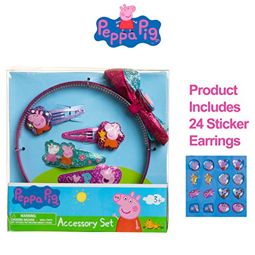 [Peppa Pig Girls Hair Accessories Set Headband Glitter Snap Clips] (Little Pig Costumes)