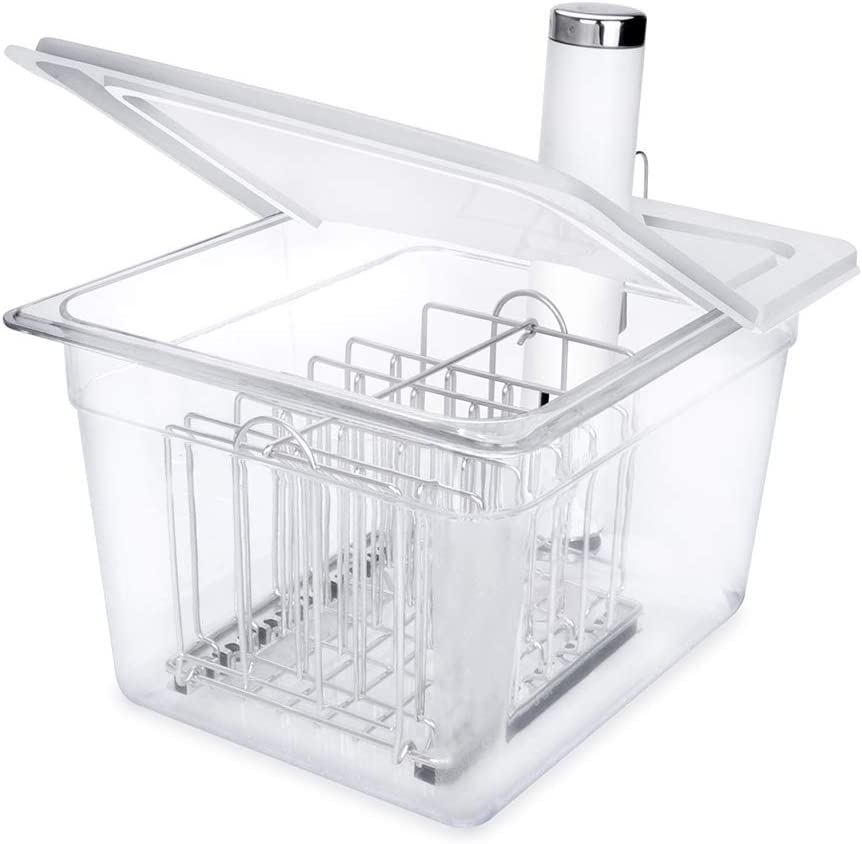 EVERIE Sous Vide Container 12 Quart with Hinge Lid and Sous Vide Rack for Breville Joule