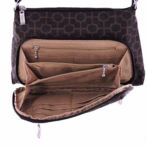 Baggallini Everyday bolsa Cruz cuerpo o del bolso del monedero del hombro (Black & Mocha Trellis)