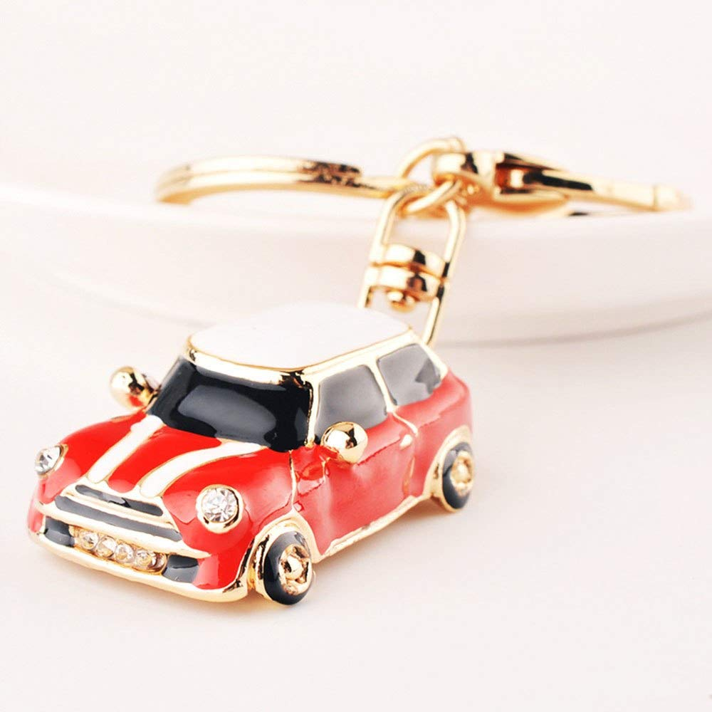 Gold Happy Car Alloy Keychain Keyring Pendant Car Model Key Chain Ring Holder for Mini Cooper S JCW One Countryman Accessories