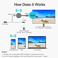 WiFi Display Dongle, Wireless HDMI Dongle- 1080P Wireless HDMI Adapter Streaming Video Picture Files from Smartphone to TV for ...