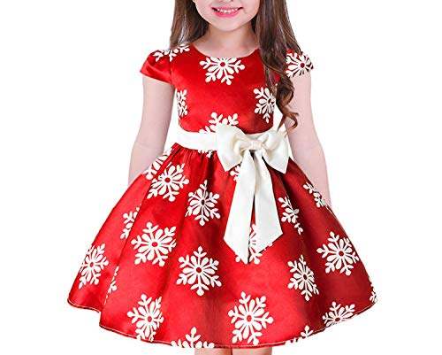 One Shoulder Printed Dress for Girls Princess Flower Wedding Pageant Party Dresses,Red3,5 -