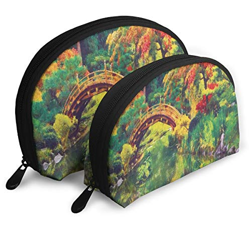 - Shell Shape Makeup Bag Set Portable Purse Travel Cosmetic Pouch,Fairy Image Of A Japanese Garden With An Old Ancient Bridge The Lake Nature Print,Women Toiletry Clutch