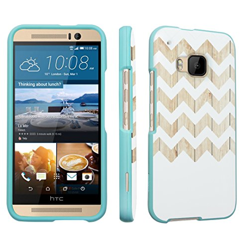 DuroCase ® HTC One M9 (Released in 2015) Hard Case Mint - (White Wood Chevron)