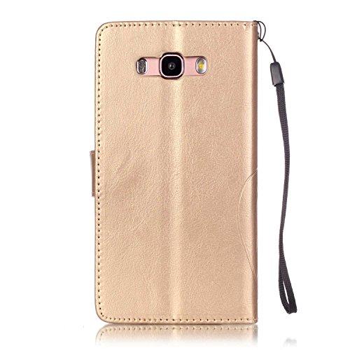 JIALUN-Personality teléfono shell Funda Samsung J710 2016, caja de la cartera de cuero premium de la PU Caja magnética de la caja de relieve, cubierta de la caja de color sólido para Samsung J710 2016 Gold