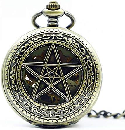 YXZQ懐中時計、レトロホローファイブポインテッドスターヴィンテージラッキースターブロンズネックレススケルトンメカニカルギフト