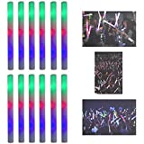 "16"" Multicolor LED Flashing Light Effect Sticks Color Changing Foam Baton Strobe for Party Supplies, Festivals, Raves, Birthdays, Children Toy (12 Pack) by Super Z Outlet"