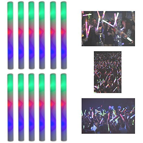 "16"" Multicolor LED Flashing Light Effect Sticks Color Changing Foam Baton Strobe for Party Supplies, Festivals, Raves, Birthdays, Children Toy (12 Pack)"