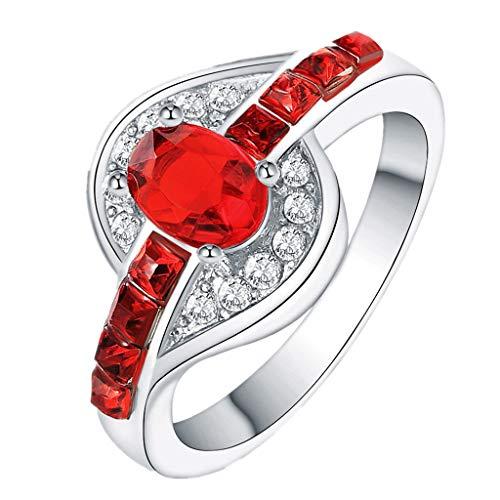 Aunimeifly Exquisite Crystal Ring, Women Popular Simulation Diamond Zirconia Eternity Wedding Band Red