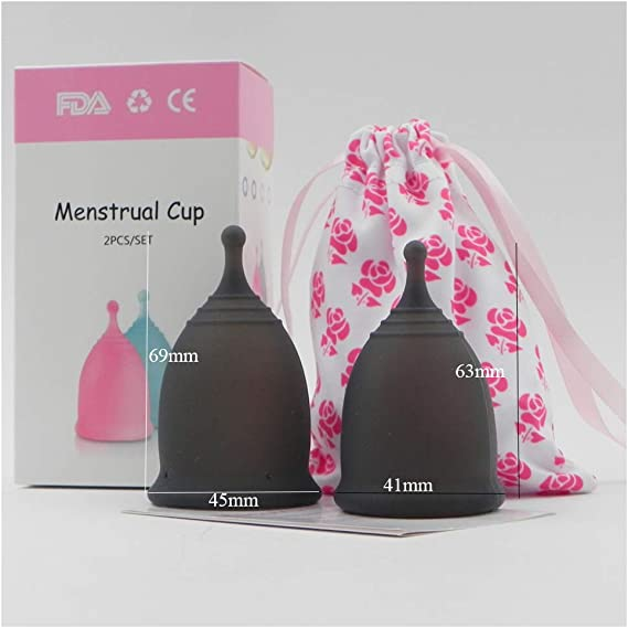 2pcs Copa Menstrual Talla MYL,Grado Médico Silicona Hipoalergénica,Esterilizador Reutilizable Copas Menstruales Ecologicas,Negro