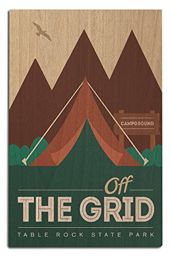 Lantern Press Table Rock State Park, South Carolina - Off The Grid (Tent) (12x18 Wood Wall Sign, Wall Decor Ready to Hang)