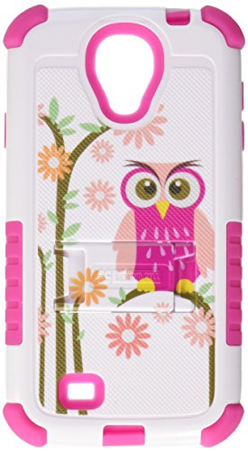 Beyond Cell Tri-Shield Durable Hybrid Hard Shell and Silicone Gel Case for Samsung Galaxy S4 - Retail Packaging - White/Hot Pink/Daisy Owl (Galaxy S4 Case Hybrid Pink)