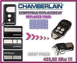 CHAMBERLAIN 4330E, 4332E, 4333E, 4335E universal transmisor de repuesto mando a distancia, 433.92Mhz rolling code keyfob