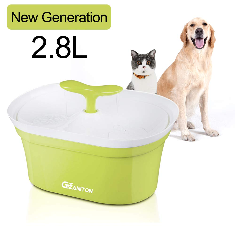 Gizaniton Pet Fountain Cat Water Dispenser - Healthy and Hygienic Drinking Fountain 2.8L Super Quiet Bean Sprout Automatic Water Bowl with Filter for Dogs, Cats, Birds and Small Animals, Green
