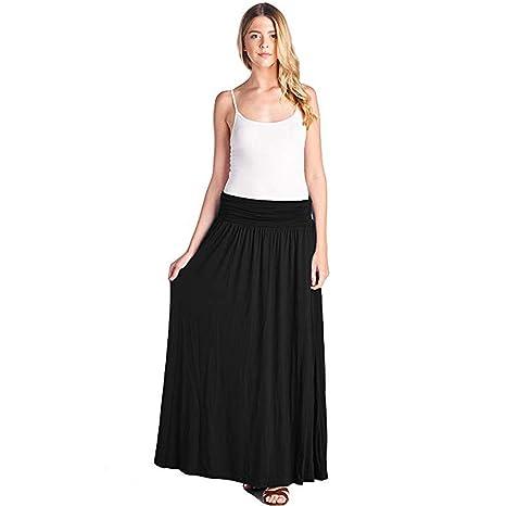 Bibao - Falda Larga de algodón con Cintura elástica Estilo Bohemio ...