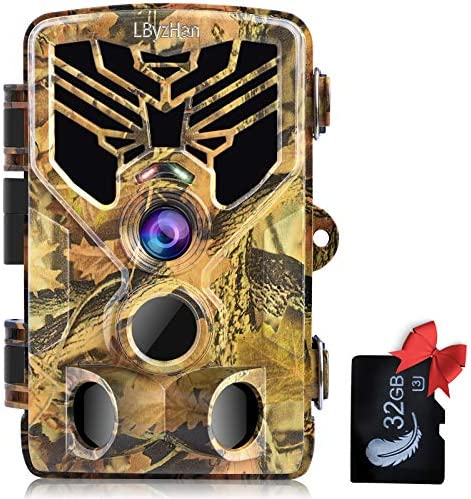"LByzHan Trail Game Camera 24MP 1080P Hunting Cam with 32GB TF Card Night Vision Motion Activated IP66 Waterproof 120° Detecting Range 2.0"" TFT 44pcs IR LEDs 3 PIR No Glow 940nm for Wildlife Monitoring"