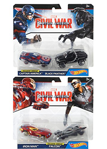 Hot Wheels Marvel Exclusive Civil War 2-Pack Character Cars Exclusive Falcon Vehicle / Iron-Man + Black Panther & Captain America Battle Damaged Super Hero Set 4 car bundle