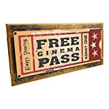 Cheap Framed Home Cinema Metal Sign Mounted on Rustic, Weathered Wood
