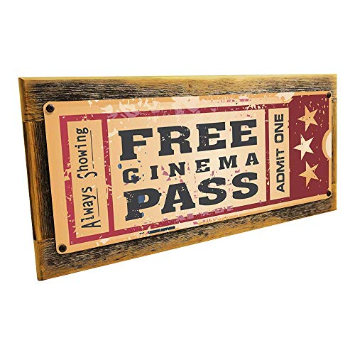 Framed Home Cinema Metal Sign Mounted on Rustic, Weathered ()