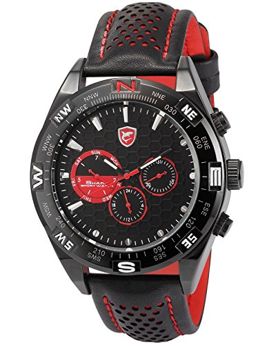 Amazon #DealOfTheDay: Shark Men's Date Day Black Leather Analog Quartz Watch SH080
