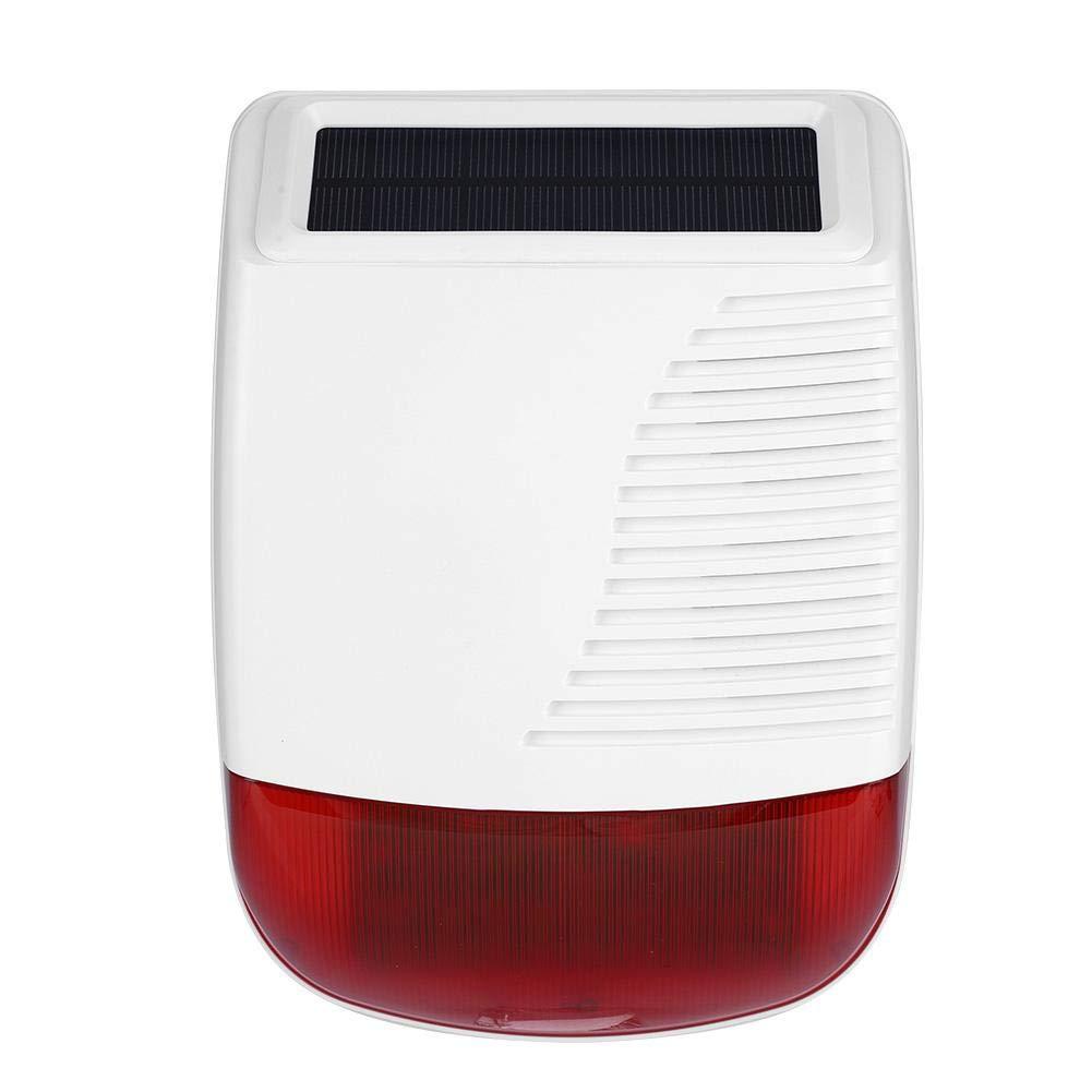 Siren Alarm 110db, 433MHz Wireless Outdoor Waterproof Solar Power Light Sound Siren Alarm for GSM Alarm System