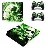 Pandaren PS4 Slim Console Full Skin Sticker Faceplates(Console Skin X 1 + Controller Skin X 2)(Skull Green)