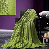 smallbeefly Exotic Digital Printing Blanket Tropical Forest Rainforest Jungle Paradise Ecology Feng Shui Spa Summer Quilt Comforter 80''x60'' Pistachio Green Fern Green