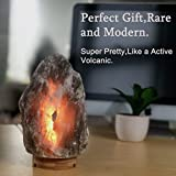 Very Rare, Large (8-13lbs,7-10in) Grey Gray White Himalayan Salt Lamp Lights, Salt Table Lamp Bamboo Base Touch Dimmer Switch Control with 1 Salt Night Light, Set of 2 Pack Salt Candle Holders