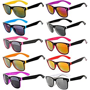 New Stylish Retro Vintage Two -Tone Sunglasses Multicolor Mirror Lens (10_Pack - Smoke_Lens_Mirror_Lens, Mirror) OWL.
