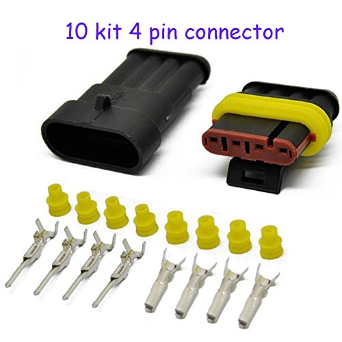 HIFROM 10 Kit 4 Pin Way Waterproof Electrical Connector 1.5mm Series Terminals Heat Shrink Quick Locking Wire Harness Sockets 20-16 AWG (Female 4 Pin Connector Housing)