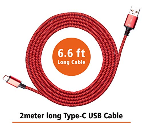 Tarkan 6 ft Long Rugged Dash & Warp Charging Type C Cable for All USB-C Android Mobile Phones (Red) Supports 5V 6A & 5V 4A (20W & 30W)