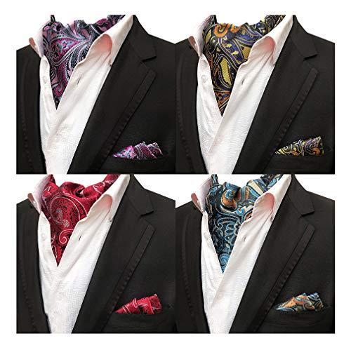 (MOHSLEE Mens Formal Polka Dots 4 Pack Cravat Ascot Scarf Tie & Pocket Square Set)
